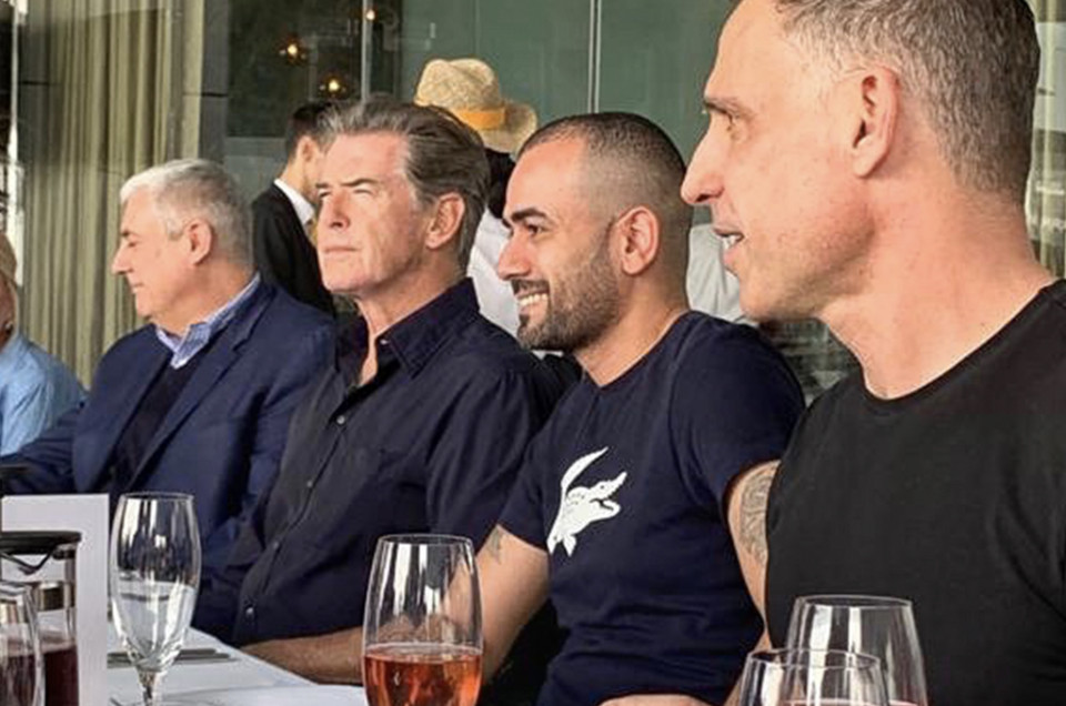 Rami Jaber having lunch with Pierce Brosnan & the production team.